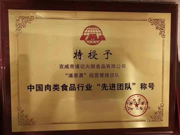 中国肉类食品行业先进团队称号