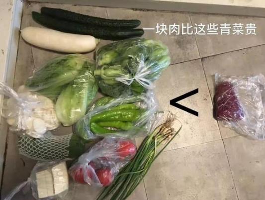 一小块猪肉与一堆蔬菜价格相比